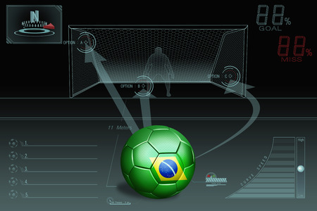 penalty: Penalty kick infographic with Brazil soccer ball Stock Photo