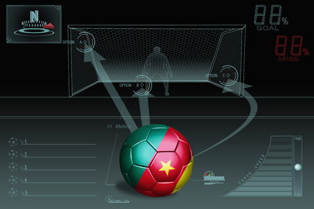Penalty kick infographic with Cameroon soccer ball