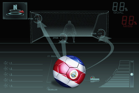 penalty: Penalty kick infographic with Costa Rica soccer ball Stock Photo
