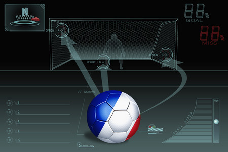 penalty: Penalty kick infographic with France soccer ball Stock Photo