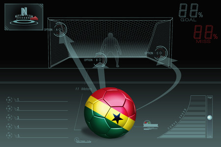 Penalty kick infographic with Ghana soccer ball photo