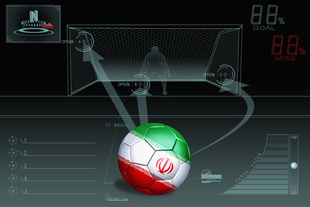 penalty: Penalty kick infographic with Iran soccer ball Stock Photo