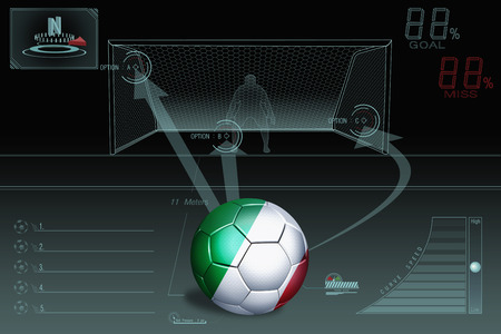 Penalty kick infographic with Italy soccer ball photo