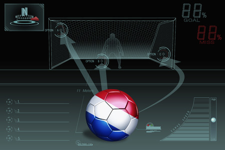 Penalty kick infographic with Netherlands soccer ball photo