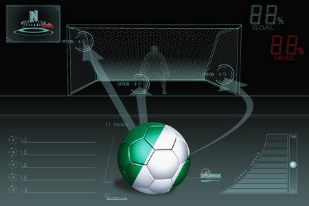 Penalty kick infographic with Nigeria soccer ball photo