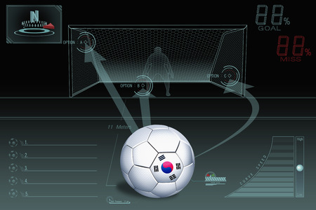 Penalty kick infographic with South Korea soccer ball photo