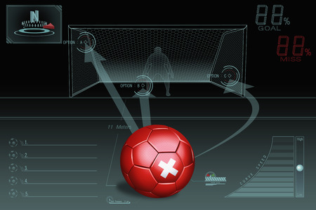 penalty: Penalty kick infographic with Switzerland soccer ball