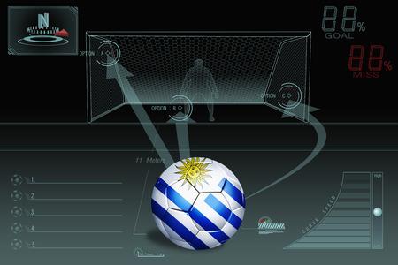 uruguay: Penalty kick infographic with Uruguay soccer ball Stock Photo