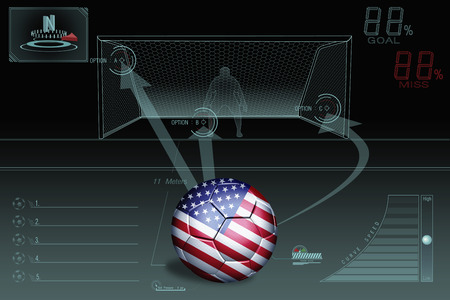 Penalty kick infographic with USA soccer ball Stock Photo