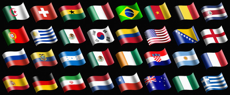 Various flags representing the country photo