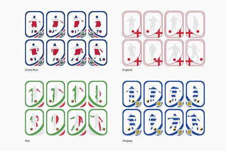 bandera de uruguay: Los equipos del Grupo D en una forma de tarjetas
