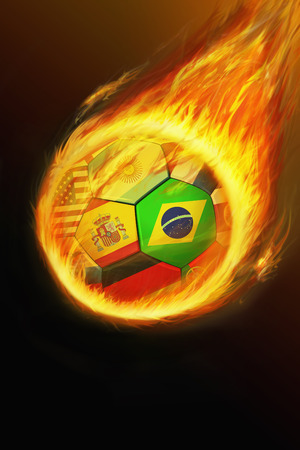 colombia flag: Flaming ball with world flags Stock Photo