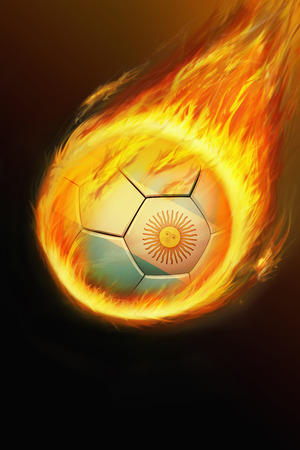 Flaming Argentina soccer ball photo