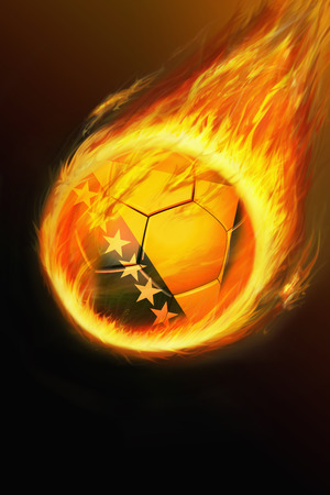 Flaming Bosnia and Herzegovina soccer ball photo