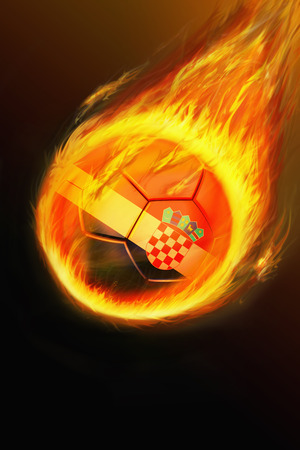 Flaming Croatia soccer ball photo