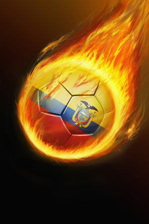 Flaming Ecuador soccer ball photo