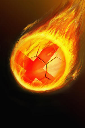 scorch: Flaming England soccer ball