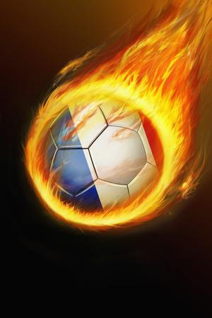 bannière football: Flaming ballon de football France