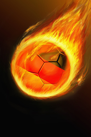 Flaming Germany soccer ball photo