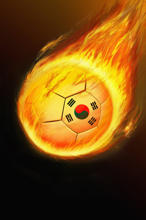 Flaming Korea soccer ball photo