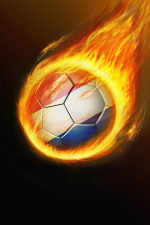 the netherlands: Flaming Netherlands soccer ball