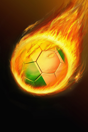 Flaming Nigeria soccer ball photo