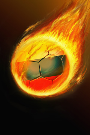 Flaming Russia soccer ball photo