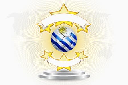 bandera de uruguay: Uruguay balón de fútbol emblema Foto de archivo