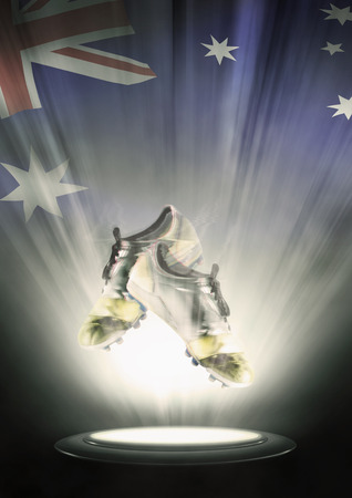 football cleats: Football cleats with Australia flag backdrop
