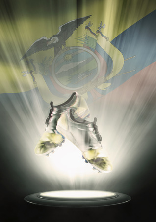soccer cleats: Football cleats with Ecuador flag backdrop