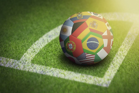 Taking corner with world flags soccer ball