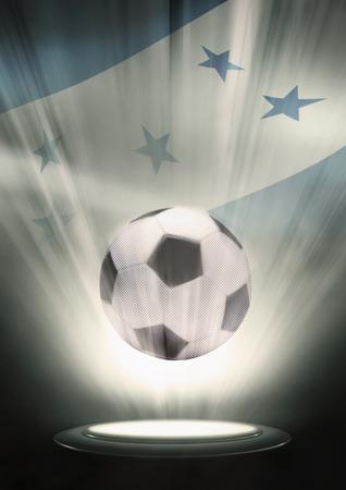 bandera honduras: Un balón de fútbol con la bandera de Honduras telón de fondo