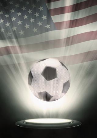 the sovereign: A soccer ball with USA flag backdrop Stock Photo