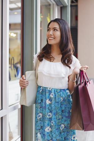 Girl going for window shopping