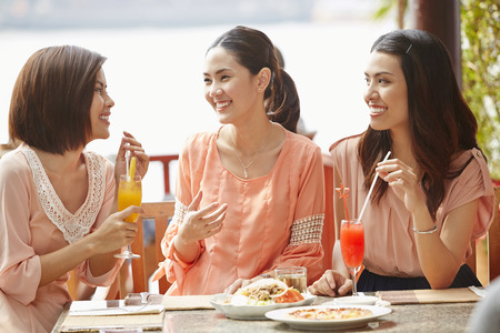 Young women having lunch together