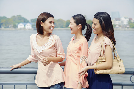 only three people: Young women hanging out Stock Photo
