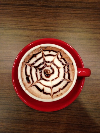 view: top view of a cup of hot chocolate