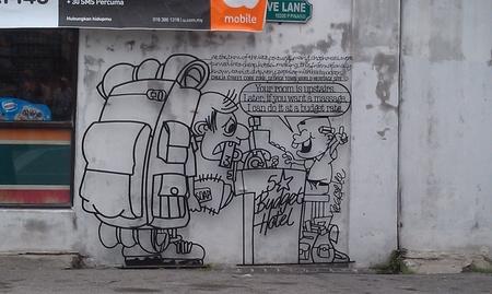 tourist spot: Humorous street art in a tourist spot Stock Photo