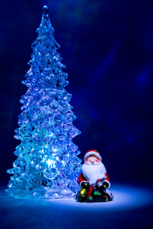 christmas tree toy shining with a beautiful shadow northern lights background and highlights in the form