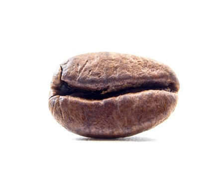 Coffee bean close up macro isolated on a white background