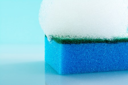 sponge, foam, bubbles, close-up, texture, light blue background