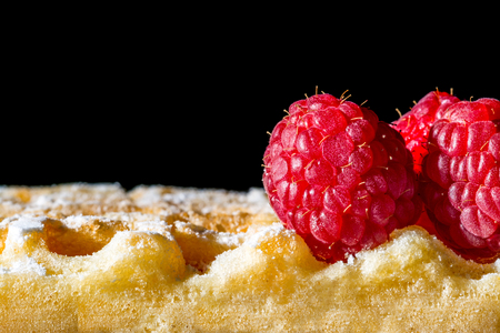 Sweet toast waffles with raspberries and sugar powder close-up macro on a black background