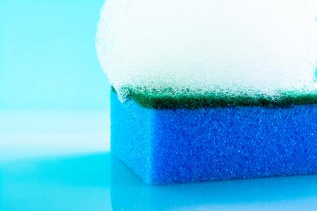 sponge, foam, bubbles, close-up, texture, light blue background