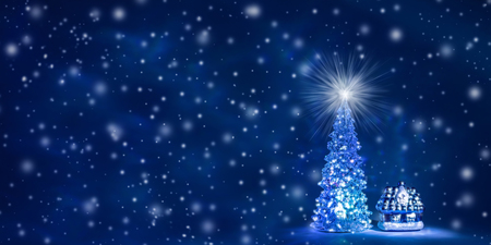 Christmas tree with glowing lights on a garland and a shining star on the crown on a blue Northern Lights background with falling snow. Christmas and New Year`s background with free space for text. Stock fotó