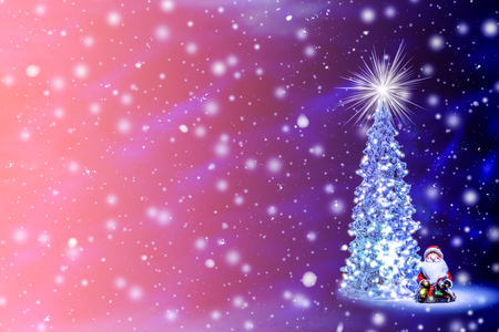 Christmas tree with glowing lights on a garland and a shining star on the crown with falling snow and snowflakes. Christmas and New Year`s background in the natural color of the living coral - the color of the year 2019 with free space for text. 写真素材