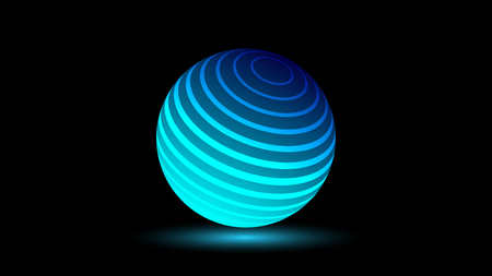 Blue neon luminescent 3D ball with a glow effect 版權商用圖片