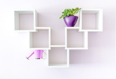 A modern white bookshelf on a white wall with a flower and a watering can, standing upside down. Creative minimalism style.