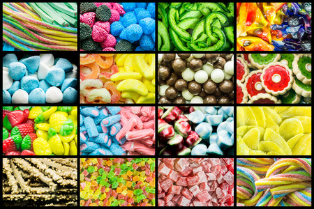 Bright collage of multi-colored chewy candies, sweet dried fruits and fresh sweet pastries. Bright background of sweets and dried fruits. Banco de Imagens