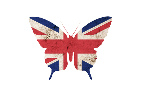 Butterfly silhouette in national colors of Great Britain flag in grunge style isolated on white background. British flag in the form of a butterfly silhouette.