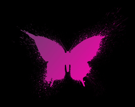 Butterfly silhouette with paint splashes and blots with a beautiful multi-colored and bright gradient, isolated on a black background. Stock Photo
